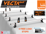 VECTA Bar 4 Van Roof Bars & 4 Adjustable Load Stops